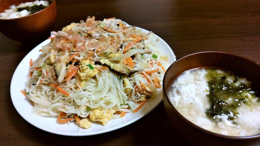 我が家の簡単沖縄料理『ソーミンチャンプルー』
